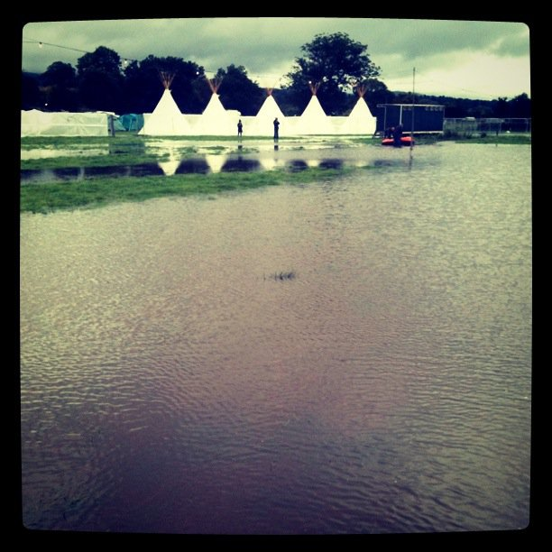 beacons festival flooded site